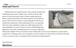Print <i>Sand and Gravel</i> reading comprehension.