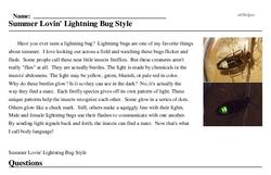 Print <i>Summer Lovin' Lightning Bug Style</i> reading comprehension.