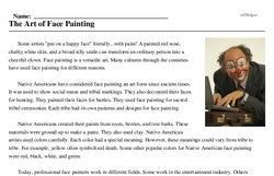 Print <i>The Art of Face Painting</i> reading comprehension.