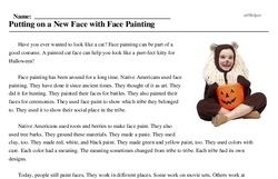 Print <i>Putting on a New Face with Face Painting</i> reading comprehension.
