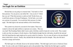 Print <i>An Eagle for an Emblem</i> reading comprehension.