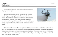 Print <i>Helicopters</i> reading comprehension.