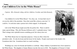 Print <i>Can Children Live in the White House?</i> reading comprehension.