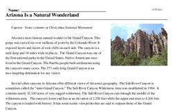 Print <i>Arizona Is a Natural Wonderland</i> reading comprehension.