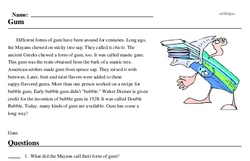 Print <i>Gum</i> reading comprehension.