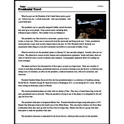 Print <i>Presidential Travel</i> reading comprehension.