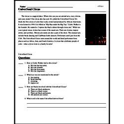 Print <i>UniverSoul Circus</i> reading comprehension.