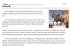 Print <i>Donatello</i> reading comprehension.