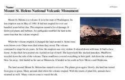 Print <i>Mount St. Helens National Volcanic Monument</i> reading comprehension.