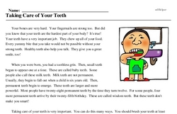 Print <i>Taking Care of Your Teeth</i> reading comprehension.