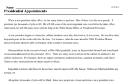 Print <i>Presidential Appointments</i> reading comprehension.
