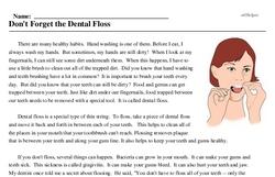 Print <i>Don't Forget the Dental Floss</i> reading comprehension.