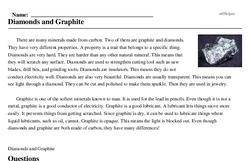 Print <i>Diamonds and Graphite</i> reading comprehension.