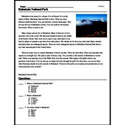 Print <i>Haleakala National Park</i> reading comprehension.