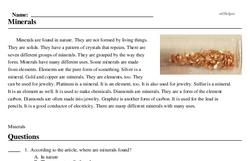 Print <i>Minerals</i> reading comprehension.