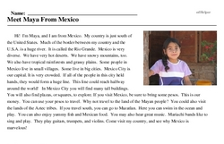 Print <i>Meet Maya From Mexico</i> reading comprehension.