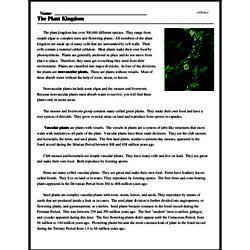 Print <i>The Plant Kingdom</i> reading comprehension.