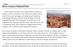 Print <i>Bryce Canyon National Park</i> reading comprehension.