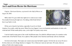 Print <i>An E-mail from Hector the Hurricane</i> reading comprehension.