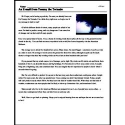 Print <i>An E-mail from Tommy the Tornado</i> reading comprehension.