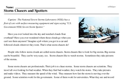 Print <i>Storm Chasers and Spotters</i> reading comprehension.