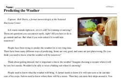 Print <i>Predicting the Weather</i> reading comprehension.