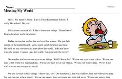 Print <i>Meeting My World</i> reading comprehension.