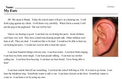 Print <i>My Ears</i> reading comprehension.