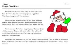 Print <i>People Need Ears</i> reading comprehension.