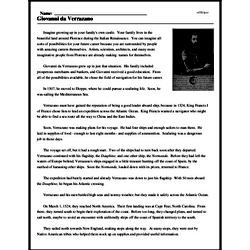 Print <i>Giovanni da Verrazano</i> reading comprehension.