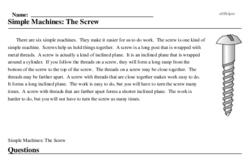Print <i>Simple Machines: The Screw</i> reading comprehension.