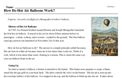 Print <i>How Do Hot Air Balloons Work?</i> reading comprehension.