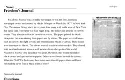 Print <i>Freedom's Journal</i> reading comprehension.