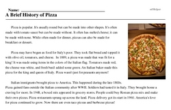 Print <i>A Brief History of Pizza</i> reading comprehension.
