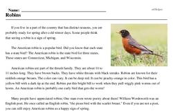 Print <i>Robins</i> reading comprehension.