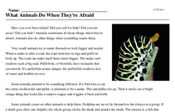 Print <i>What Animals Do When They're Afraid</i> reading comprehension.