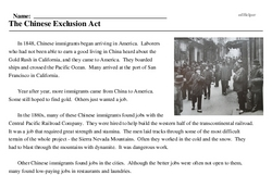 Print <i>The Chinese Exclusion Act</i> reading comprehension.