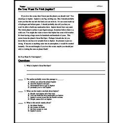 Print <i>Do You Want To Visit Jupiter?</i> reading comprehension.