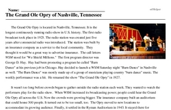 Print <i>The Grand Ole Opry of Nashville, Tennessee</i> reading comprehension.