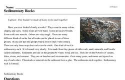 Print <i>Sedimentary Rocks</i> reading comprehension.