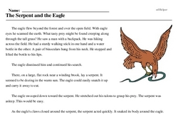 Print <i>The Serpent and the Eagle</i> reading comprehension.