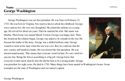 Print <i>George Washington</i> reading comprehension.