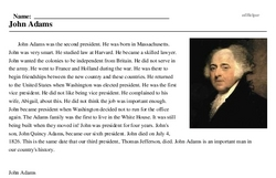 Print <i>John Adams</i> reading comprehension.
