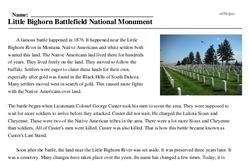 Print <i>Little Bighorn Battlefield National Monument</i> reading comprehension.