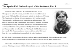 Print <i>The Apache Kid: Outlaw Legend of the Southwest, Part 1</i> reading comprehension.