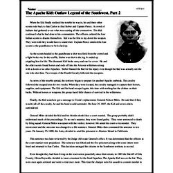 Print <i>The Apache Kid: Outlaw Legend of the Southwest, Part 2</i> reading comprehension.