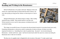 Print <i>Reading and Writing in the Renaissance</i> reading comprehension.
