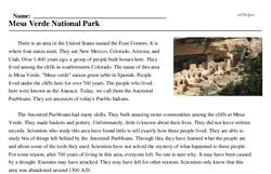 Print <i>Mesa Verde National Park</i> reading comprehension.