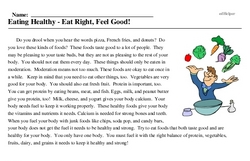 Print <i>Eating Healthy - Eat Right, Feel Good!</i> reading comprehension.