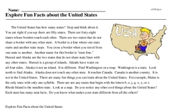 Print <i>Explore Fun Facts about the United States</i> reading comprehension.
